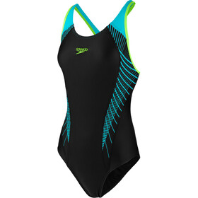 speedo Fit Laneback Traje de Baño Mujer, black/aquasplash/bright zest
